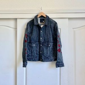 Urban Outfitters Vintaged Embroidered Jean Jacket